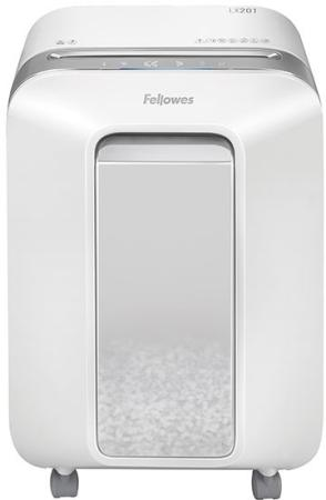 Шредер Fellowes PowerShred LX201 белый (секр.P-5)/перекрестный/12лист./22лтр./скрепки/скобы/пл.карты цена 2017