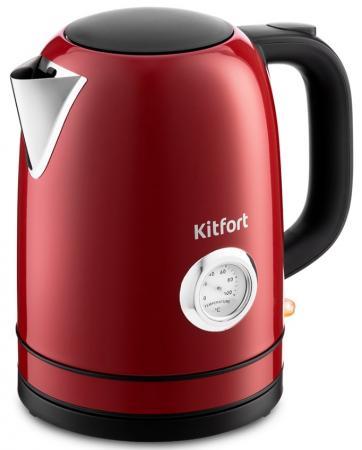 Фото - Чайник электрический KITFORT КТ-683-2 2200 Вт красный 1.7 л нержавеющая сталь чайник электрический kitfort кт 675 1 2200 вт белый 1 7 л нержавеющая сталь