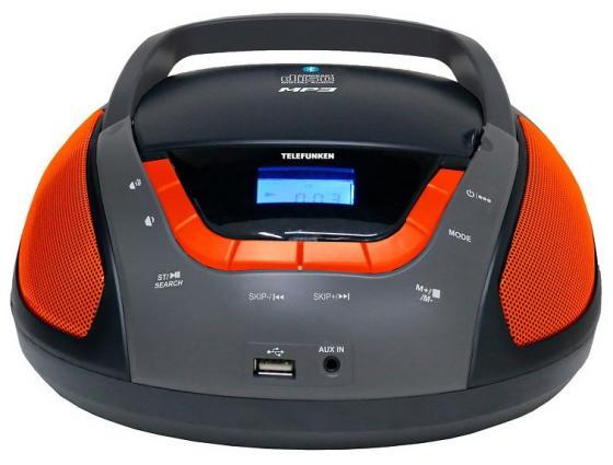 Аудиомагнитола Telefunken TF-CSRP3496B черный/оранжевый 2Вт/CD/CDRW/MP3/FM(dig)/USB/BT/SD/MMC аудиомагнитола telefunken tf csrp3494b черный 2вт cd cdrw mp3 fm an usb bt sd mmc