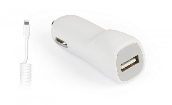 цена на Smart buy Автомобильное ЗУ вых.ток 1А, 1USB + витой кабель для iPhone 5/6/7/8/X/New iPad, бел(SBP-1502-8-V)