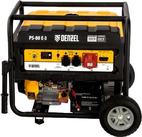 Генератор бензиновый PS 80 E-3, 6,5 кВт, 400В, 25л, электростартер// Denzel генератор бензиновый kipor kge 12 e