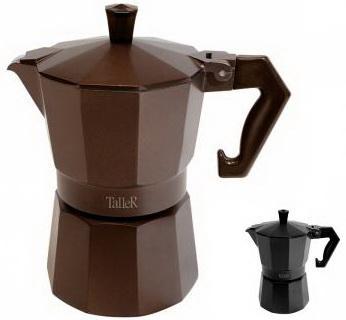 11320-TR Кофеварка гейзерная TalleR , 300мл_коричневый и чёрный цвет.толщина стенок/дна – 2.6/3 мм.