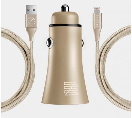 Фото - Автомобильное зарядное устройство LENZZA Razzo Metallic Car Charger. Два порта USB 5В, 2,1А. В комплекте: кевларовый кабель Lightning to USB Cable. Цвет золотой. автомобильное зарядное устройство lenzza lsrccmfi rgld 2 х usb 2 1a розовый