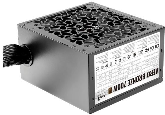 Блок питания Aerocool AERO BRONZE 700W <700W, (20+4+ 2x(4+4)) pin, 4x(6+2) 6xSATA, 4xMolex, FDD, 12 см, 80+ Bronze,