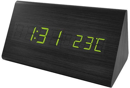 "Perfeo LED часы-будильник ""Pyramid"", чёрный / зелёная (PF-S710T) время, температура"