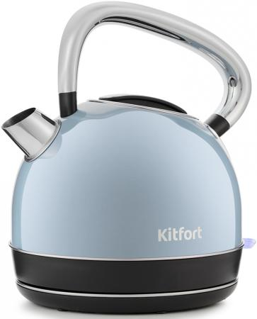 Чайник электрический Kitfort КТ-696-2 1.7л. 2150Вт голубой (корпус: нержавеющая сталь) чайник электрический kitfort кт 663 4 1 7л 2200вт мятный корпус металл