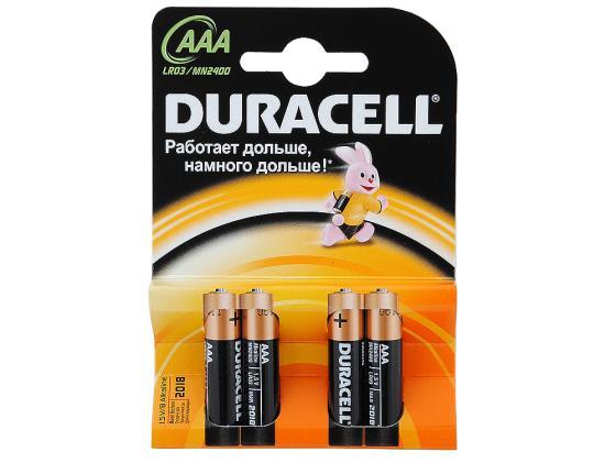 Батарейки Duracell LR03-4BL AAA 4 шт зарядное устройство аккумуляторы duracell cef14 aa aaa 4 шт 2xaaa 850mah 2xaa 2500mah