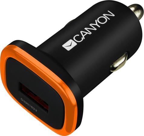 Автомобильное зарядное устройство CANYON Universal 1xUSB car adapter, Input 12V-24V, Output 5V-1A, black rubber coating with orange electroplated ring