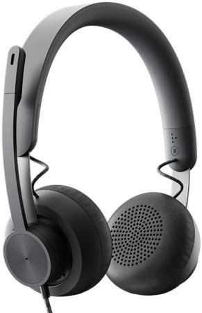 Logitech Headset Zone Wired UC Graphite гарнитура logitech headset zone wired uc 981 000875 серые
