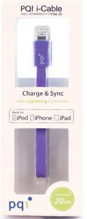 Переходник Lightning 0.2м PQI PQI-iCABLE-FLAT20-PP плоский фиолетовый