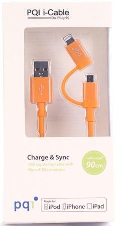 Переходник microUSB Lightning 0.9м PQI PQI-iCABLE-DuPlug90-OR круглый оранжевый