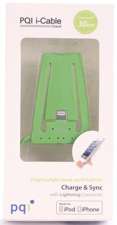 Подставка для зарядки iPhone с USB на Lightning PQI (made for iPhone, iPod) зеленая