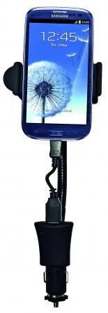 Держатель автомобильный в гнездо прикуривателя Partner на гибкой штанге, 58-85мм, 1,5А, кабель micro