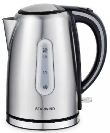 Чайник электрический Starwind SKS4002 1.7л. 2200Вт серебристый/черный (корпус: нержавеющая сталь) недорого