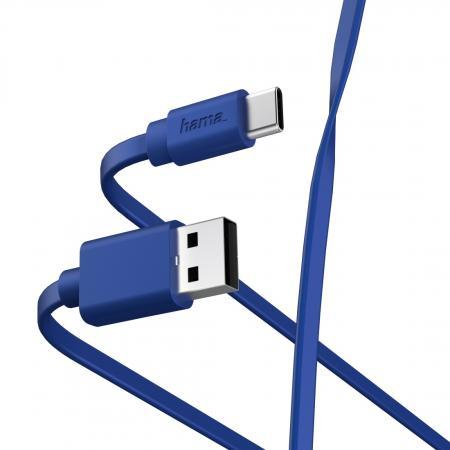 Фото - Кабель Type-C 1м HAMA 00187229 плоский синий кабель hama microusb usb type c черный 0 75м 00135713