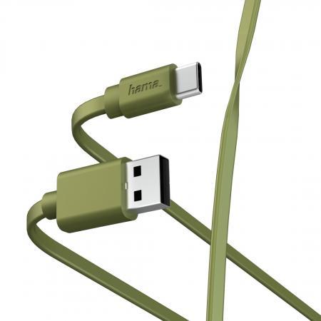 Фото - Кабель Type-C 1м HAMA 00187231 плоский зеленый кабель hama microusb usb type c черный 0 75м 00135713