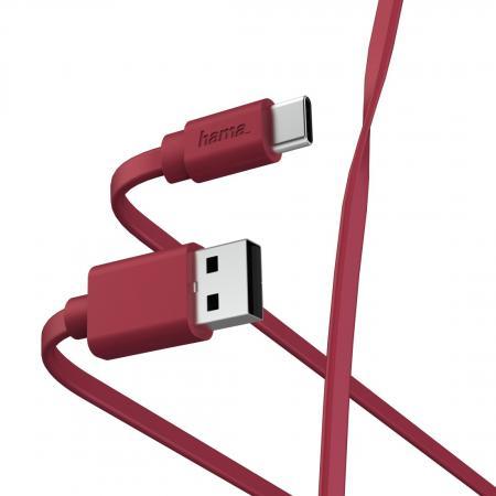 Фото - Кабель Type-C 1м HAMA 00187230 плоский красный кабель hama microusb usb type c черный 0 75м 00135713