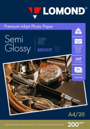 Фотобумага ПРЕМИУМ для стр.печати LOMOND А4,200 г/м2 односторонняя Bright Semi- Glossy(20л)