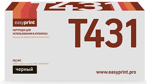Фото - Тонер-картридж EasyPrint LP-431 для Panasonic KX-MB2230/2270/2510/2540/2571 (6000 стр.) тонер картридж easyprint lp 431 для panasonic kx mb2230 2270 2510 2540 2571 6000 стр