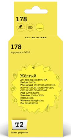 Фото - IC-H320 Картридж T2 № 178 для HP Deskjet 3070A/Photosmart 5510/5515/6510/7510/B010b/B109c/B110a/B110d/B110e/C8553/C5383/C6383/D5463/Plus B209b/B210b/Premium C309c/C309h/C310b/C410C/Wireless B109g/B109r/Pro B8553/8558, желтый, с чипом картридж hp cb317he 178 для photosmart c5383 c6383 d5463 prob8553 фото черный 130стр