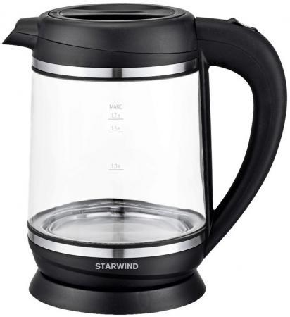 Чайник электрический Starwind SKG2023 1.7л. 2200Вт черный/серебристый (корпус: стекло) недорого