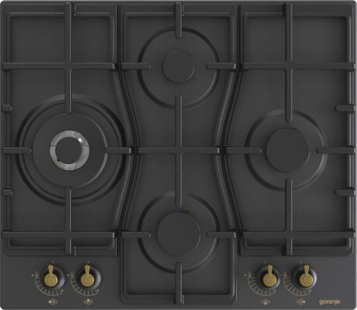 Встраиваемые варочные панели GORENJE/ Газовая варочная панель, Цвет: Черный, Газовая варочная панель, Решетки: Чугунные решетки, Автоматический электроподжиг варочной поверхности, Габаритные размеры (вхшхг): 13х60х52 см, Вес (брутто/нетто): 14 / 13,3 кг