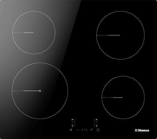 Встраиваемые электрические панели Hansa/ Варочная поверхность индукционная HANSA 60см BHI68312, сенсорное управление, 1 бустер (Boosters), индикация степени нагрева, индикатор остаточного тепла, таймер, блокировка управления, цвет черный