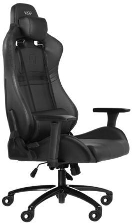 Игровое кресло WARP Gr чёрно-белое (экокожа, алькантара, регулируемый угол наклона, механизм качания)