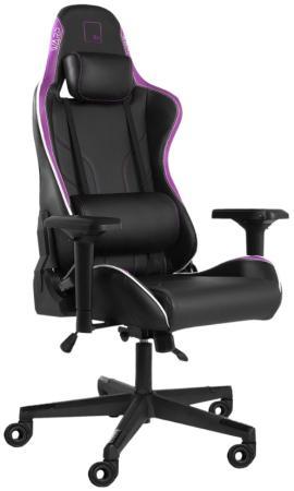 Игровое кресло WARP Xn чёрно-фиолетовое (экокожа, алькантара, регулируемый угол наклона, механизм качания)