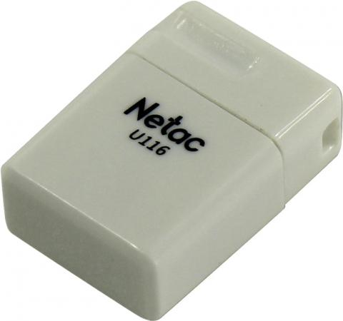 Фото - Флеш Диск Netac U116 8Gb <NT03U116N-008G-20WH>, USB2.0, миниатюрная пластиковая белая usb flash drive 8gb netac u197 nt03u197n 008g 20bk