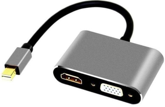 Фото - Кабель-переходник Mini DisplayPort (M) -> HDMI (F)+VGA (F) 4K@30Hz Alum Grey Telecom (TA6080) кабель orient c302 mini displayport m to hdmi f 0 2m black