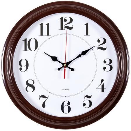 Часы настенные аналоговые Бюрократ WALLC-R85P D35см коричневый/белый