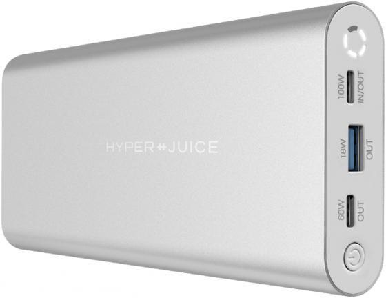 Фото - Портативный аккумулятор HyperJuice 130W USB-C Battery. Емкость 27000 мАч. Порты 1 x USB-C PD 3.0 100W, 1 x USB-C PD 3.0 60W, USB-A QC 3.0 18W. Цвет серебристый. бра odeon light padma 1 х e14 60w 2686 1w