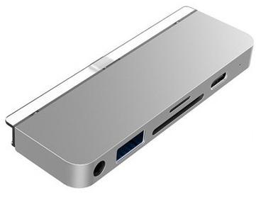 USB-хаб HyperDrive 6-in-1 USB-C Hub для iPad Pro. Порты: USB-C, HDMI, USB-A, SD, Micro SD, 3.5mm AUX. Цвет серый космос. недорого