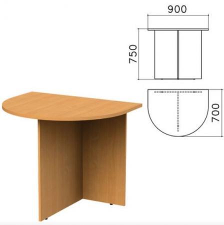 "Стол приставной к столу для переговоров (640110) ""Монолит"", 900х700х750 мм, бук бавария, ПМ19.1"