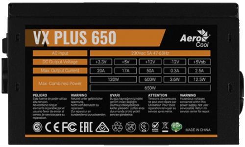Фото - Блок питания ATX 650 Вт Aerocool VX Plus 650 блок питания atx 400 вт aerocool vx plus 400