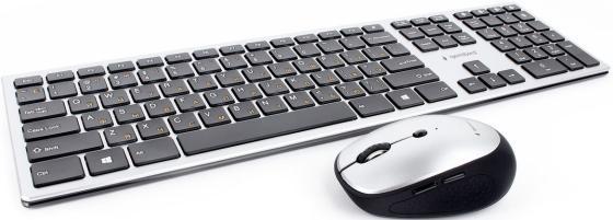 Клавиатура + мышь Gembird KBS-8100,{Беспроводной комплект, адаптер не входит в slim, BT 3.0, серебро, 109кл, 1600DPI}