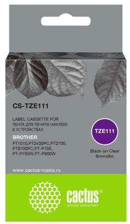 Фото - Картридж ленточный Cactus CS-TZE111 черный для Brother 1010/1280/1280VP/2700VP лента cactus cs tz241 для принтеров brother p touch 1010 1280 1280vp 2700vp черный на белом 18ммх8м