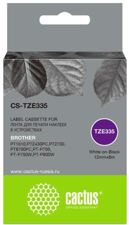 Фото - Картридж ленточный Cactus CS-TZE335 белый для Brother 1010/1280/1280VP/2700VP лента cactus cs tz241 для принтеров brother p touch 1010 1280 1280vp 2700vp черный на белом 18ммх8м