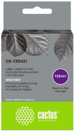 Фото - Картридж ленточный Cactus CS-TZE431 черный для Brother 1010/1280/1280VP/2700VP лента cactus cs tz241 для принтеров brother p touch 1010 1280 1280vp 2700vp черный на белом 18ммх8м