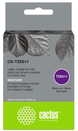Фото - Картридж ленточный Cactus CS-TZE611 черный для Brother 1010/1280/1280VP/2700VP лента cactus cs tz241 для принтеров brother p touch 1010 1280 1280vp 2700vp черный на белом 18ммх8м