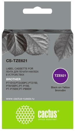 Фото - Картридж ленточный Cactus CS-TZE621 черный для Brother 1010/1280/1280VP/2700VP лента cactus cs tz241 для принтеров brother p touch 1010 1280 1280vp 2700vp черный на белом 18ммх8м