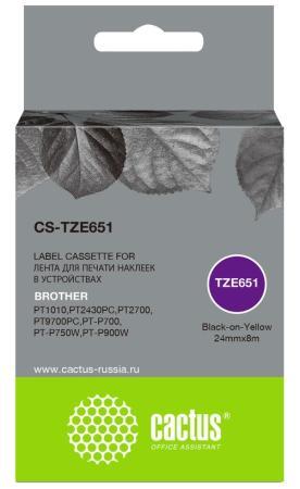 Фото - Картридж ленточный Cactus CS-TZE651 черный для Brother 1010/1280/1280VP/2700VP лента cactus cs tz241 для принтеров brother p touch 1010 1280 1280vp 2700vp черный на белом 18ммх8м