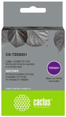 Фото - Картридж ленточный Cactus CS-TZES251 черный для Brother 1010/1280/1280VP/2700VP лента cactus cs tz241 для принтеров brother p touch 1010 1280 1280vp 2700vp черный на белом 18ммх8м