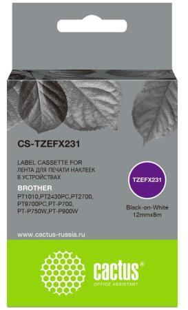 Фото - Картридж ленточный Cactus CS-TZEFX231 черный для Brother 1010/1280/1280VP/2700VP лента cactus cs tz241 для принтеров brother p touch 1010 1280 1280vp 2700vp черный на белом 18ммх8м