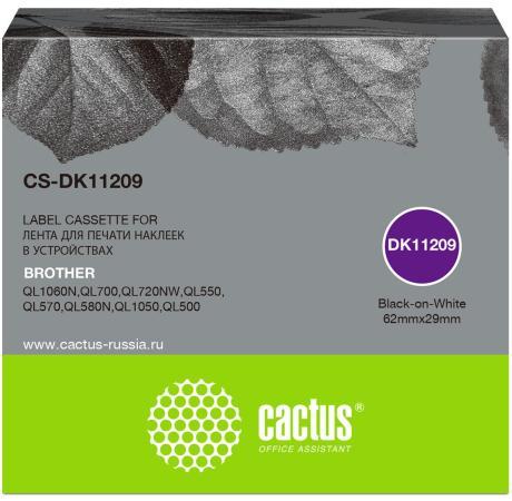 Фото - Картридж ленточный Cactus CS-DK11209 черный для Brother P-touch QL-500, QL-550, QL-700, QL-800 лента ламинирования brother tz221 9мм для p touch черный на белом