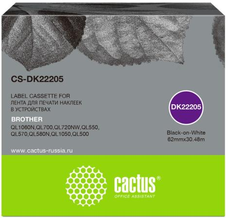 Фото - Картридж ленточный Cactus CS-DK22205 черный для Brother P-touch QL-500, QL-550, QL-700, QL-800 лента ламинирования brother tz221 9мм для p touch черный на белом