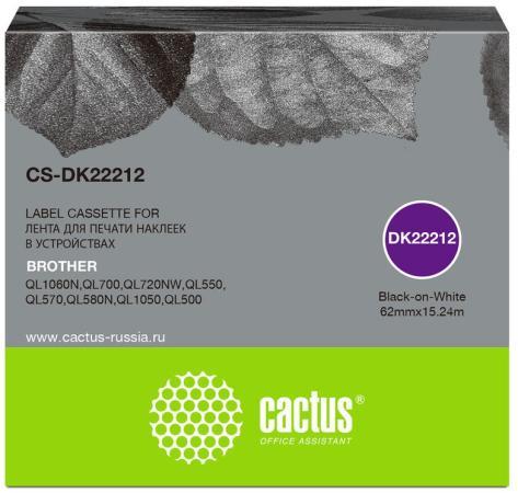 Фото - Картридж ленточный Cactus CS-DK22212 черный для Brother P-touch QL-500, QL-550, QL-700, QL-800 лента ламинирования brother tz221 9мм для p touch черный на белом