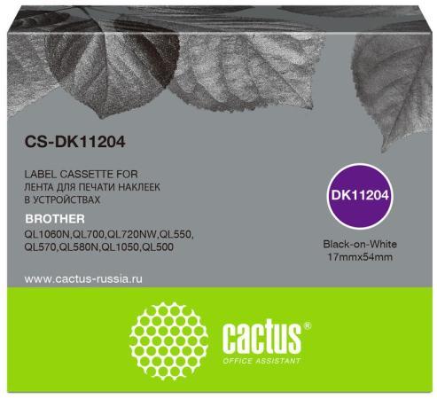 Фото - Картридж ленточный Cactus CS-DK11204 черный для Brother P-touch QL-500, QL-550, QL-700, QL-800 лента ламинирования brother tz221 9мм для p touch черный на белом