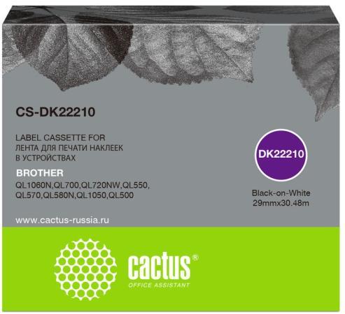 Фото - Картридж ленточный Cactus CS-DK22210 черный для Brother P-touch QL-500, QL-550, QL-700, QL-800 лента ламинирования brother tz221 9мм для p touch черный на белом